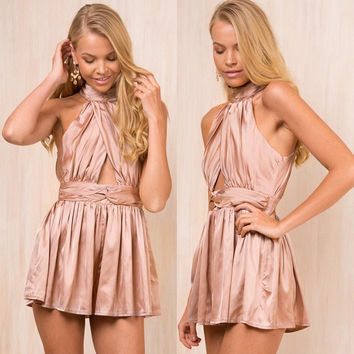 Casual Pants Ruffle Hollow Out Backless Club Shaped Romper [11524098831]