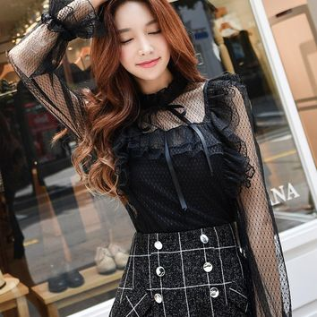 Dabuwawa Black Lace Blouses Stand Collar Lace Shirt Women Long Sleeve Ruffle Blouse Bow Sexy Elegant Blouses And Tops #D17CST059