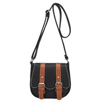 Black PU Leather Contrast Color Double Buckle Design Vintage Cross-body Bag