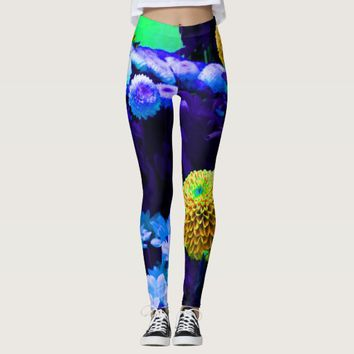 Psychedelic trippy yellow purple floral pattern leggings