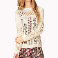 FOREVER 21 Refined Open-Knit Sweater Cream Medium