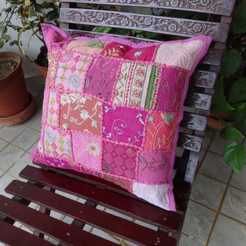 Patchwork Cushion Cover, Set of 5 handmade Pink Color sofa cushion covers, 40 x 40 Cms Size, Vintage Cushion Cover, Old patches India