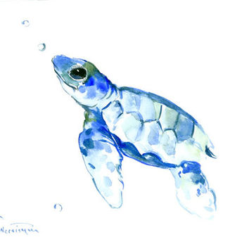 Reserved Sea turtle painting 10 x 8 in original watercolor painting blue minimalist nursery children room nautical art