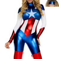 Captain America Jumpsuits Halloween Costume