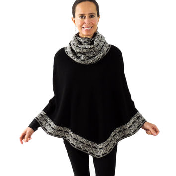 Baby Alpaca Knitted Poncho with Cowl Neck - Black