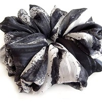 Gray Marble Large Chiffon Scrunchies Stylish Accessories Hair Band Ponytail Holder Teen Girls Women