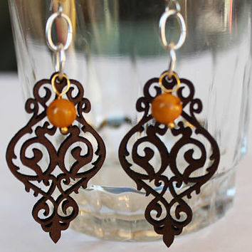 Yellow beaded earrings with laser cut brown leather, intricate scroll design leather, round jade bead, Chandelier shape earrings, gift