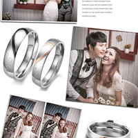 Stainless Steel Silver Couple Rings Half Heart Love Wedding Ring Engagement Fashion Jewelry Per 1 pc Only