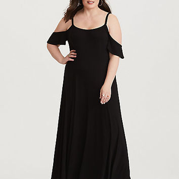 Black Cold Shoulder Jersey Trapeze Maxi Dress