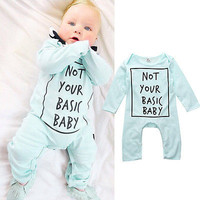 """Cute Mint Blue New Baby Girl or Boy """"I am Not Your Basic Baby"""" Long Sleeve Onesuit"""