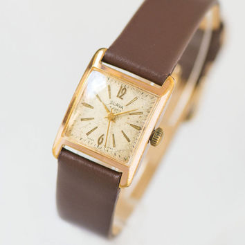 Square woman's watch Glory, gold plated square writwatch her, 50 Years of October Revolution jubilee watch rare, premium leather strap new