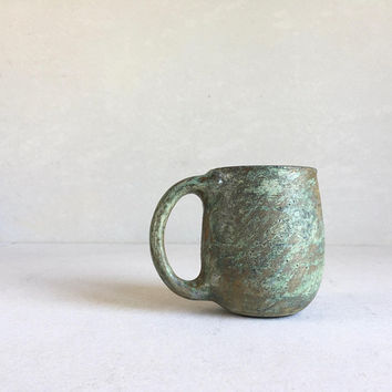 PATINA GREEN MUG Full-Handle 16oz, ceramic, pottery, handmade, rustic, coffeemug, coffee mug, cup, handmademug, potterymug, greenmug, sturdy