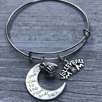 Volleyball Mom Love You to the Moon and Back Bangle Bracelet