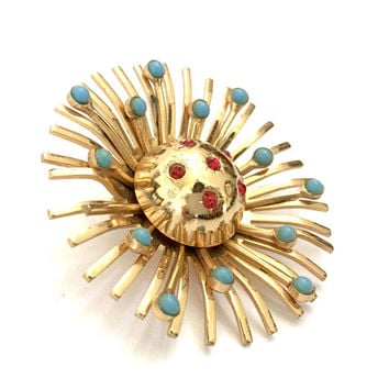 Atomic Sunburst Brooch/Pendant, Polished Gold Tone Metal, Tiny Turquoise Cabochons & Red Rhinestones, Dimensional, Vintage Statement Brooch