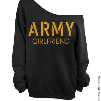 Army Girlfriend - Black with Gold Slouchy Oversized Sweatshirt