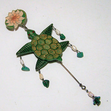 Ingrid Blackert Turtle  Pin, Water Lily Brooch, Articulated Moving Legs, Hand Painted Acrylic, USA Artisan Jewelry, Malachite Pearl Bead218