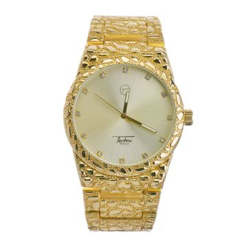 Jewelry Kay style Techno Pave Hip Hop Nugget Pattern 14K Gold Plated Metal Band Watches WM 8364 G