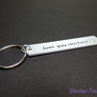 Love You Mostest, Hand Stamped Aluminum Keychain for Couples with Heart Stamp