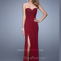 La Femme Scattered Beaded Prom Gown 21235