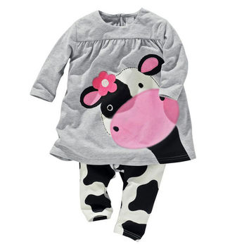 2PCS/ The Stylish Cow Graphic Tee + Cute Pants Casual Outfit for NB Girls