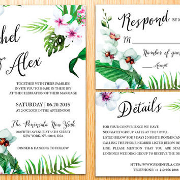 Printable Wedding Invitation Suite Bohemian Tropical Watercolor Flower Floral Elegant Wedding Set invitation Kits Card Digital Printable