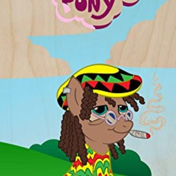 'Rasta Dooby' Funny Animal Cartoon Parody - Plywood Wood Print Poster Wall Art