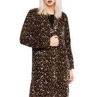 Snow Leopard Animal Print Wool Blend Coat