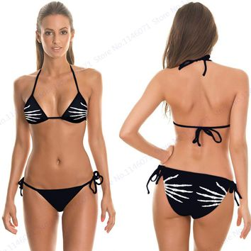 Skeleton Fingers Bikini Set Skull Print Bikini Brazilian Bandage Strappy Swimwear Black Swimsuit Push Up Bathing Suit