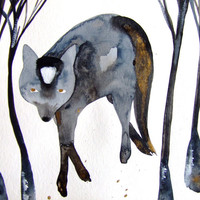Wolf Watercolor Ink Animal Watercolor Landscape Wolf Decor Grey Gold Wolf Trees Wood Art Wolf Wall Art Wolf Fine Art Contemporary Art Wolf