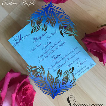 Peacock wedding menu card teal and purple feather laser cut table place setting custom