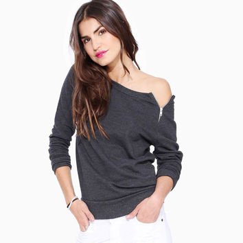 Shoulder Zippered Long Sleeve Sweater Shirt