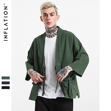 INF Mens | 2016 New Fashion streetwear mens kimono japanese shirt Hemp Men shirt