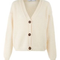 New Look Mobile | Cream Textured Knit Boyfriend Cardigan