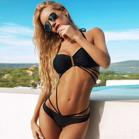 Women Sexy Bandage Bikini Set Push-up Padded Bra Swimsuit Strappy Suit Swimwear