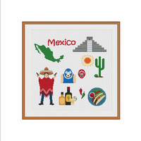Mexican cross stitch, Mexico, Mexico map, Mayan Pyramid, Cactus, Mexican food, Mexican costume, Mexican home decor, Cross stitch pattern PDF