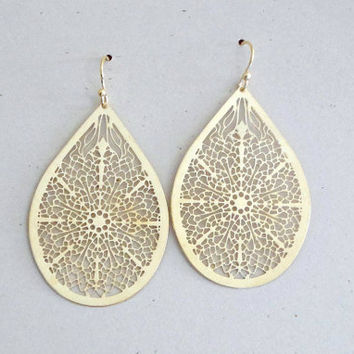 Large Teardrop Filigree Earrings Gold Laser Cut Earrin