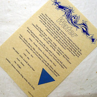 WATER ELEMENT CORRESPONDENCE parchment poster chart wicca pagan art witch book of shadows page