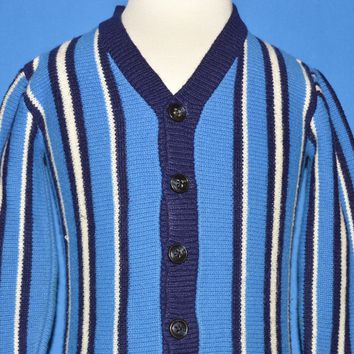 70s Striped Acrylic Cardigan Sweater Baby 18-24 Months