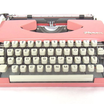 pink typewriter italic script bohemian decor boho olympia socialite olympia sf deluxe working typewriters 1960s mid century wedding decor