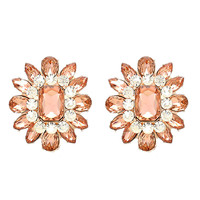 DOUBLE VINTAGE Large Peach Crystal Blossom Cocktail Stud Clip On Earrings