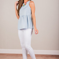 For The Love Of Lattice Tank, Chambray