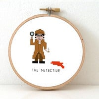 Detective Cross Stitch pattern. Gift for Detective lover. Sherlock Holmes cross stitch. Gift for him.