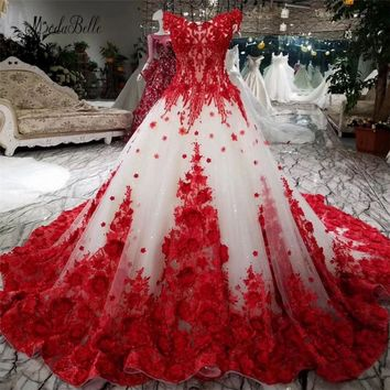 modabelle Romantic Red Lace Flower Wedding Dress Ball Gowns 2018 Luxuriant Bridal Dress Lace Up Robe De Mariage High Quality