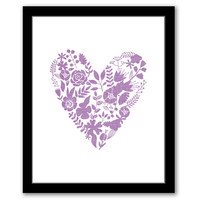INSTANT DOWNLOAD, Floral Heart, Printable Art, Baby Girl Decor, Nursery Art. Nursery Decor, Floral Wall Art, Purple Nursery Art, Heart Print
