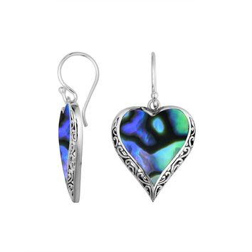 AE-6196-AB Sterling Silver Heart Shape Earring With Abalone Shell