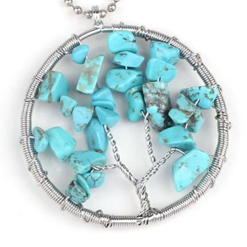 Green Tree of Life Turquoise Necklaces  Pendant