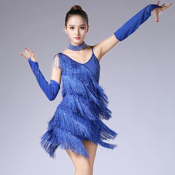 Outfit Dance wear Glove V Collar Backless Sequin Rhinestone Fringe Latin Dance Dress Shining Swing Tango Slip Dress