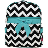 Personalized black/teal Chevron Back pack/diaperbag/bag/purse