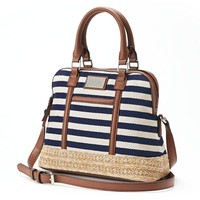 Dana Buchman Striped Straw & Canvas Dome Convertible Satchel