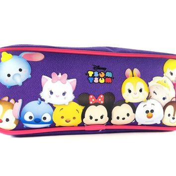 Disney Tsum Tsum Pencil Case Zippered Pouch Bag-Purple
